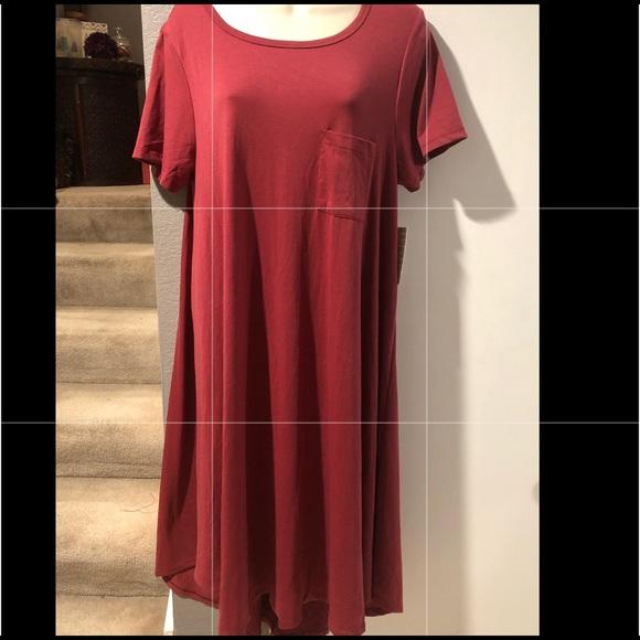 LuLaRoe Dresses & Skirts - LulaRoe Carly M NWT burgundy poly/Spandex